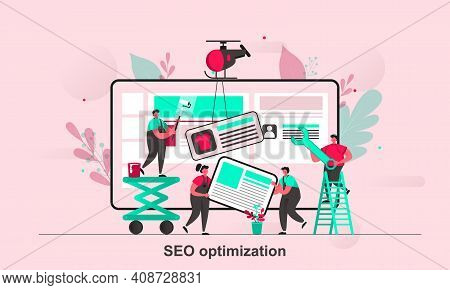 Seo Optimization Web Concept Design In Flat Style. Seo Teamwork Scene Visualization. Website Optimiz