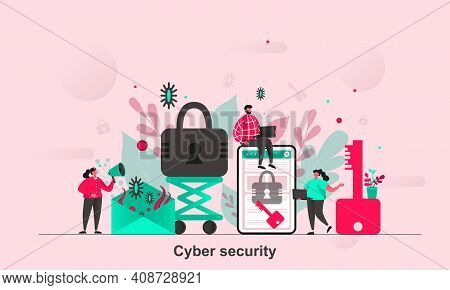 Cyber Security Web Design In Flat Style. Digital Protection, Access Control Scene Visualization. Ant