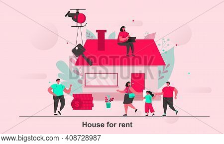 House For Rent Web Concept Design In Flat Style. House Renting To Family Scene Visualization. Real E