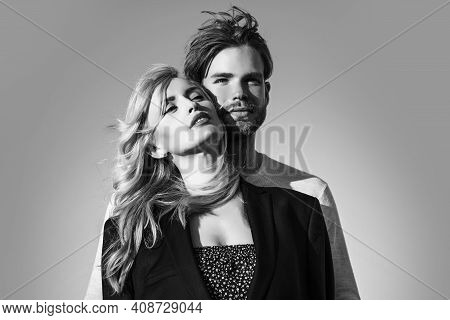Family Couple Of Man And Sexy Woman. Love And Romance