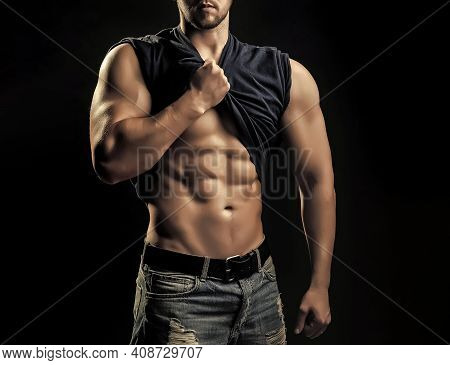 Young Man With Muscular Body. Sexy Gay Body And Athletic Torso