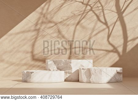 Minimal Scene Mockup With Stone Product Podium With Copy Space For Social Media Banners, Promotions,