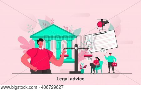 Legal Advice Web Concept In Flat Style. Notary Lawyer Or Judge Consultation Scene Visualization. Rep