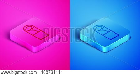 Isometric Line Doner Kebab Icon Isolated On Pink And Blue Background. Shawarma Sign. Street Fast Foo