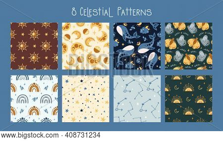 Celestial Boho Kids Seamless Pattern With Space Rainbow, Whale, Butterfly, Moon And Stars, Celestial