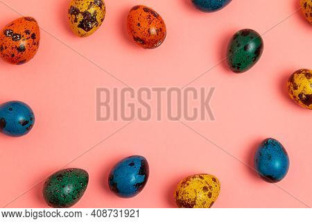 Decorated Easter Eggs On Light Pink Background Border Space For Text
