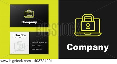 Logotype Line Laptop And Lock Icon Isolated On Black Background. Computer And Padlock. Security, Saf