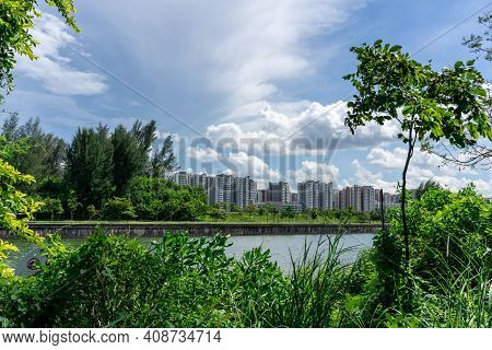 View Of Singapore Public Housing Apartments In Punggol District, Singapore. Housing Development Boar