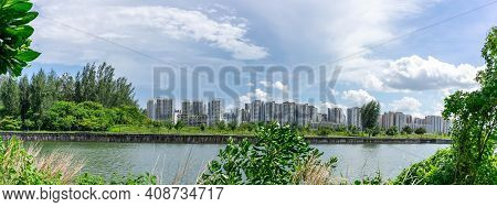 Panoramic View Of Singapore Public Housing Apartments In Punggol District, Singapore. Housing Develo