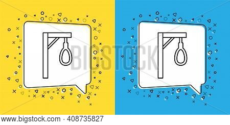 Set Line Gallows Rope Loop Hanging Icon Isolated On Yellow And Blue Background. Rope Tied Into Noose