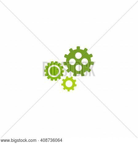 Gears Icon Isolated On White. Combination Of Pinions Of Green And Olive Colors. Vector Flat Illustra