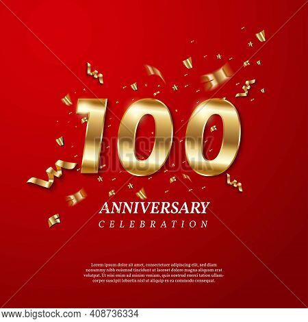 100th Anniversary Celebration. Golden Number 100 With Sparkling Confetti, Stars, Glitters And Stream