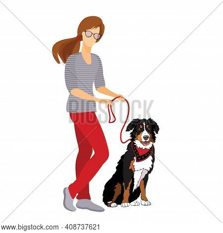 Young Woman And Dog Walk. Pet Owner. Vector Flat Illustration.