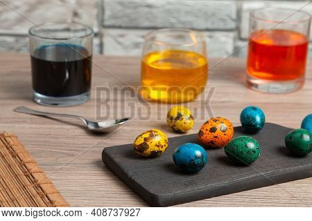 Coloring Easter Eggs At Home. Preparing For Easter