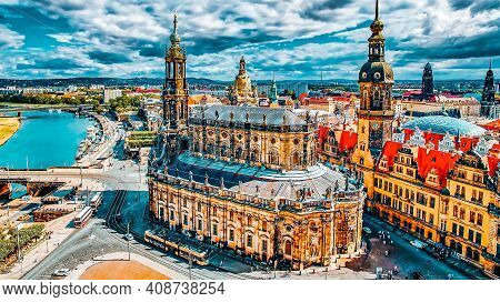 Histoirical Center Of The Dresden Old Town. Dresden Has A Long History As The Capital And Royal Resi