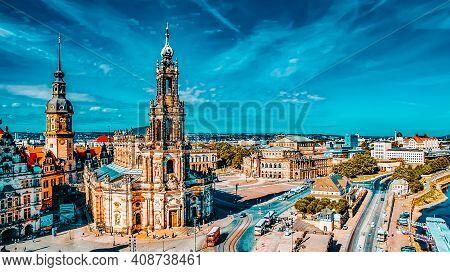 Theatre Square (theaterplatz) In The Historic Center Of Dresden,to The Left - Katholische Hofkirche.