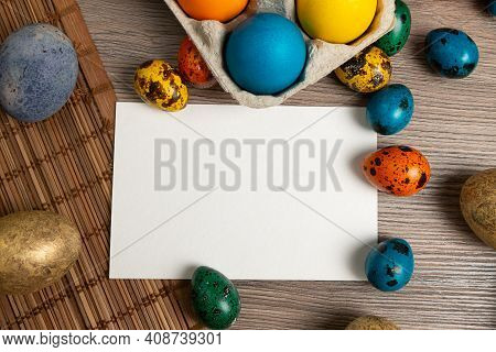 Happy Easter Decoration Background. Top View With Copy Space.