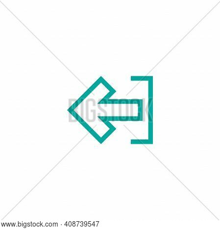 Exit Or Logout, Log Off Icon. Isolated On White. Blue Left Squared Arrow With Bracket. Sign Out Icon