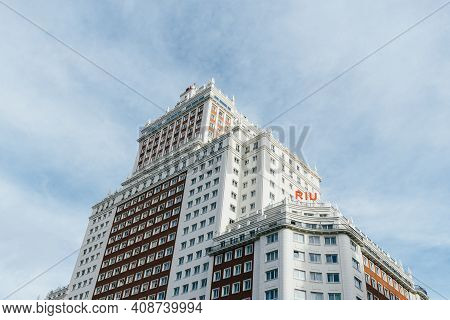 Madrid, Spain - November 1, 2019: Hotel Riu Plaza Espana, Plaza Of Spain, In Gran Via Avenue Against