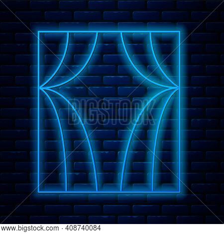 Glowing Neon Line Circus Curtain Raises Icon Isolated On Brick Wall Background. For Theater Or Opera