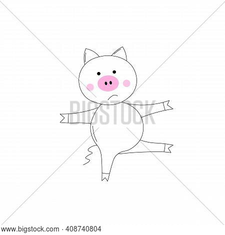 The Piglet Does Exercises, Goes In For Sports. Coloring Book For Kids. Colouring Pictures With Cute