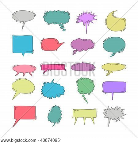 Chat Bubble Doodle Colorful Element Set. Colorful Speech Bubbles Vector Set Isolated In White Backgr