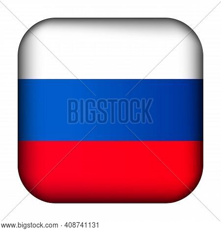 Glass Light Ball With Flag Of Russia. Squared Template Icon. Russian National Symbol. Glossy Realist