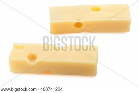 Portions (strips) Of Emmental Swiss Cheese. Texture Of Holes And Alveoli. Isolated On White Backgrou