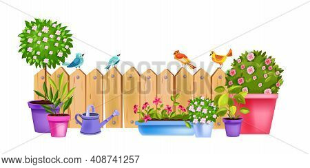 Flower Pot Vector Spring Garden Concept With Blooming House Plants, Blossom Rose, Tree, Bushes, Wate