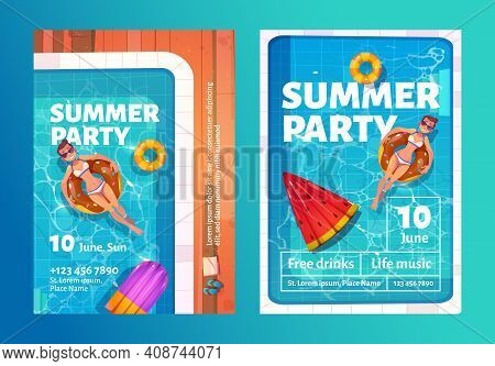 Summer Party Cartoon Flyers With Woman In Swimming Pool On Inflatable Ring Top View. Invitation Card