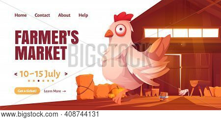 Farmer Market Cartoon Landing Page With Chicken In Barn Or Farm House. Agricultural Livestock Produc