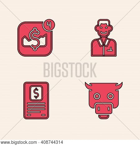 Set Bull Market, Mobile Stock Trading, Trader And Business Finance Report Icon. Vector