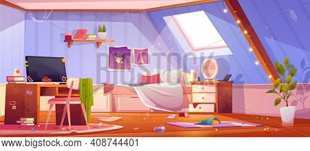 Messy Girl Bedroom On Attic. Vector Cartoon Interior Of Mansard With Dirty Furniture And Clothes, Un
