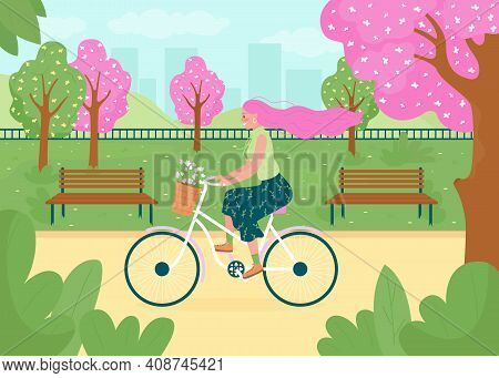Spring Recreational Activity Flat Color Vector Illustration. Happy Bicyclist. Flowers On Trees, In B