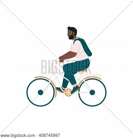 African American Man In Bicycle Flat Color Vector Detailed Character. Smiling Rider On Bike. Spring