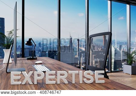 Expertise; Office Chair In Front Of Workspace With Computer And Skyline View; Banking Concept; 3d Il