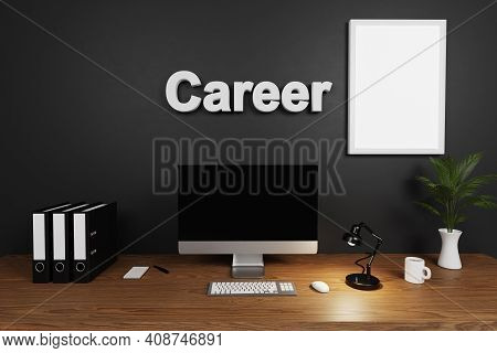 Modern Clean Office Workspace With Computer Screen And Dark Wall; Career Lettering Canvas; Hiring Co