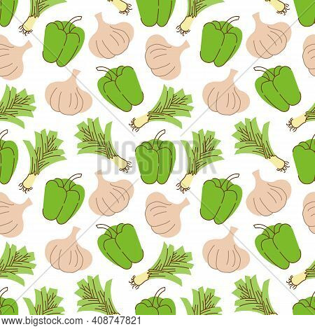 Seamless Pattern With Garlic, Peppers, Lemongrass On A White Background. Vector Illustration Of Ingr
