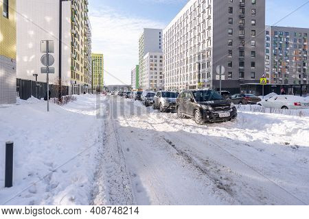 Moscow. Russia. February 2020. Snowfall In February. Driveways In Yards After A Snowfall. In The Cit