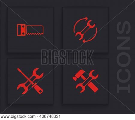 Set Hammer And Wrench, Hand Saw, Wrench Arrows As Workflow And Screwdriver Icon. Vector