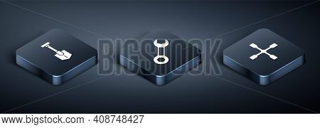 Set Isometric Shovel, Wheel Wrench And Wrench Spanner Icon. Vector