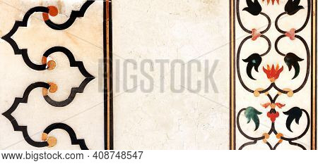 Horizontal or vertical banner with ancient marble floral ornament. Ancient mosaic on marble in Taj Mahal, India. Mock up template. Copy space for text