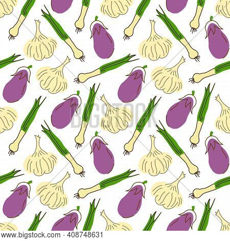 Seamless Pattern With Eggplant, Garlic, Lemongrass On A White Background. Vector Illustration Of Ing
