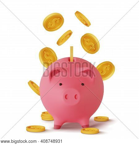 3d Realistic Moneybox In The Form Of A Pig And Coins Falling, Isolated On White Background, Vector