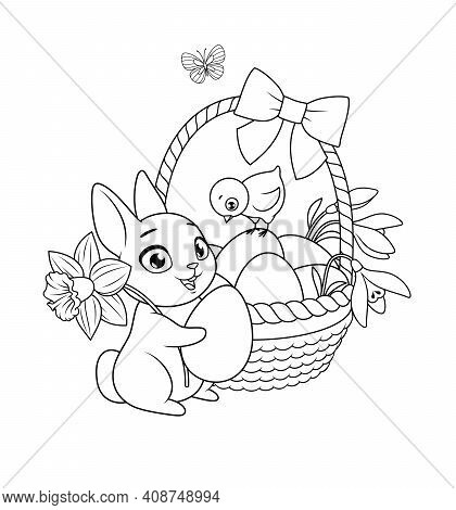 Easter Bunny And Chick With Basket Full Of Eggs And Flowers. Vector Black And White Illustration For
