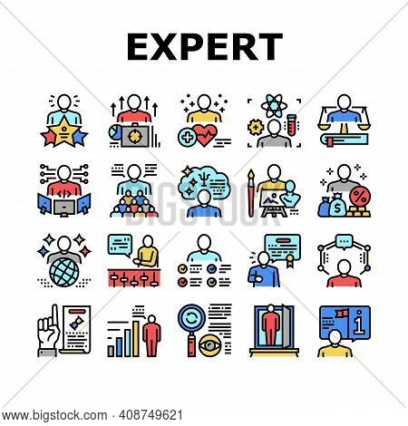 Expert Human Skills Collection Icons Set Vector. Universal And Business Expert, Lawyer And Economic,