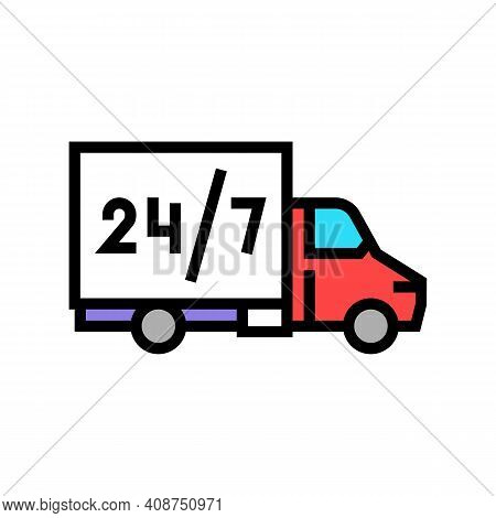 Truck Around Clock Free Shipping Service Color Icon Vector. Truck Around Clock Free Shipping Service