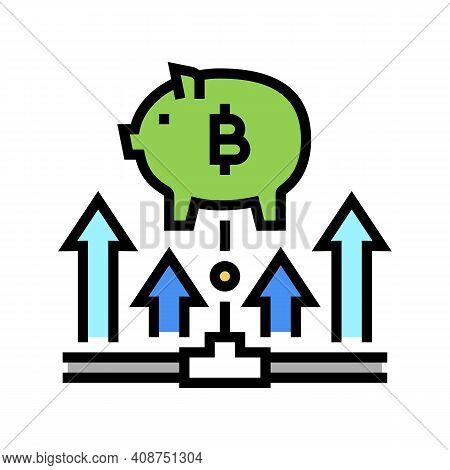 Fundraising Digital Coin Ico Color Icon Vector. Fundraising Digital Coin Ico Sign. Isolated Symbol I