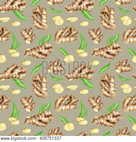 Ginger Root Seamless Pattern With Slices And Leaves. Hand Drawn Watercolor Ginger Rhizome On Silver
