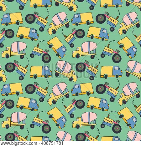 Pattern Element Cargo Vehicle. Seamless Pattern Vector Of Construction Vehicles Cartoon